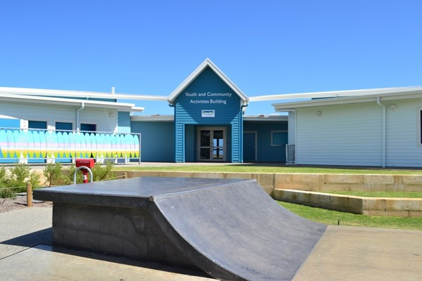 Youth and Community Activities Building Entry from Skate Park