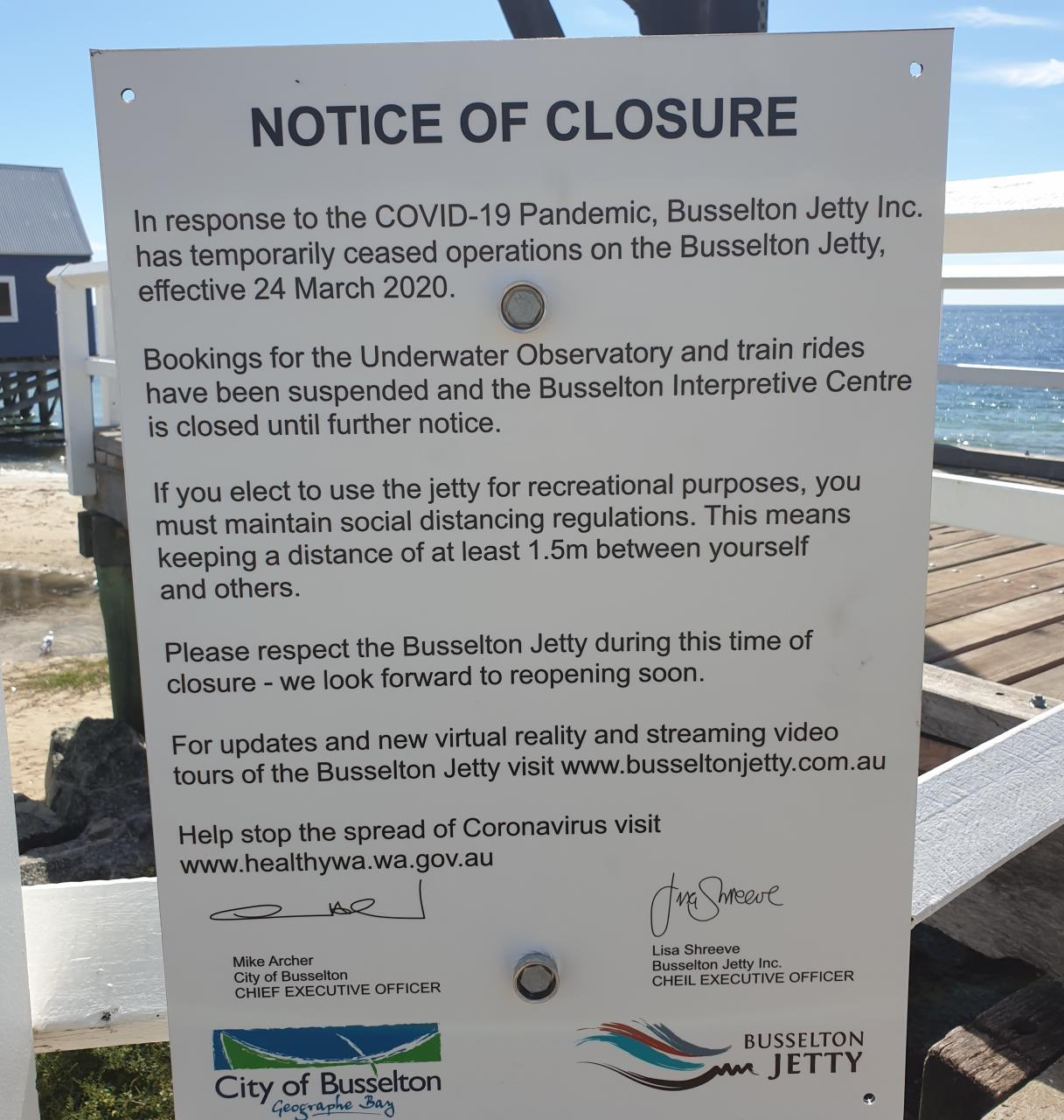 Busselton Jetty Inc. Closes Services along Iconic Jetty